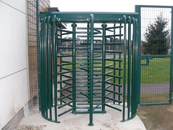 full height turnstile in green